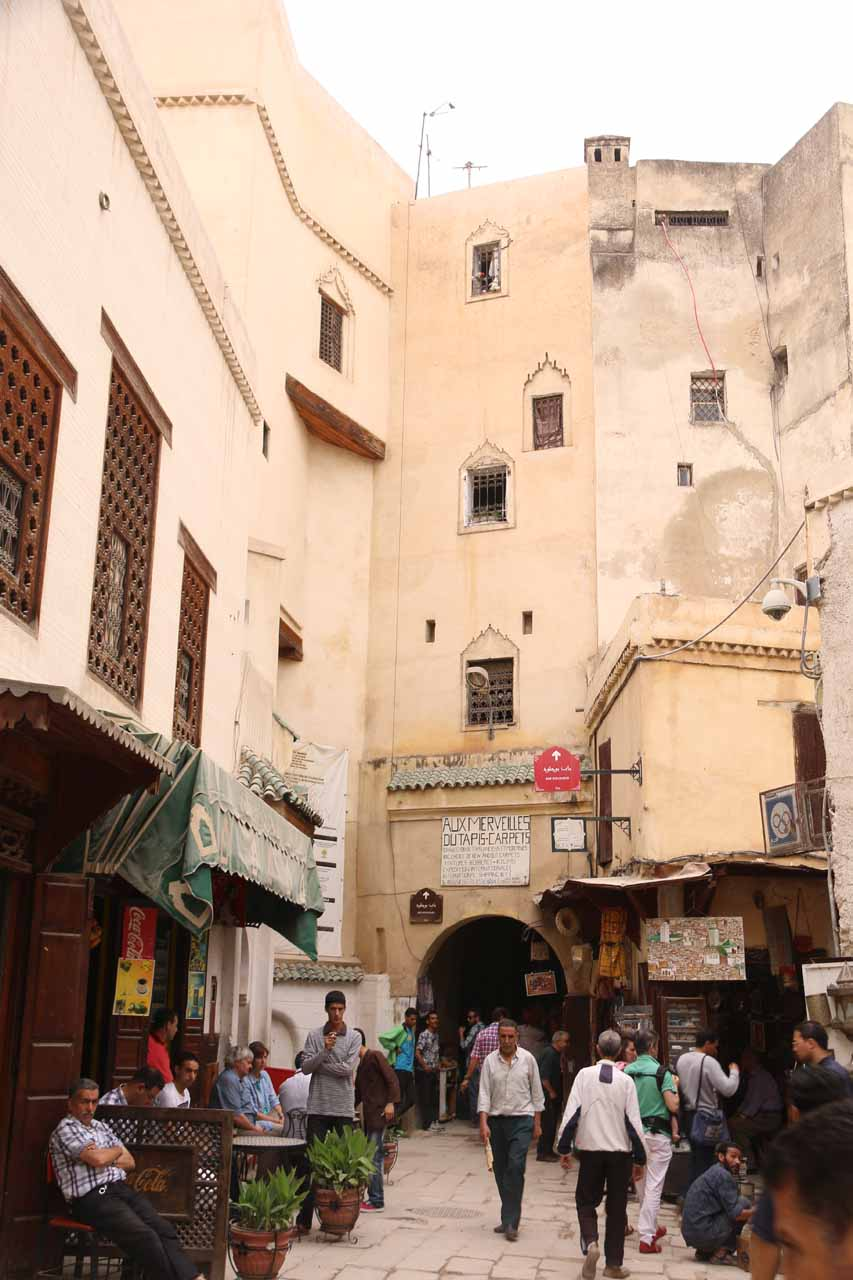 Another bustling yet atmospheric part of the medina thanks to the old buildings flanking this scene