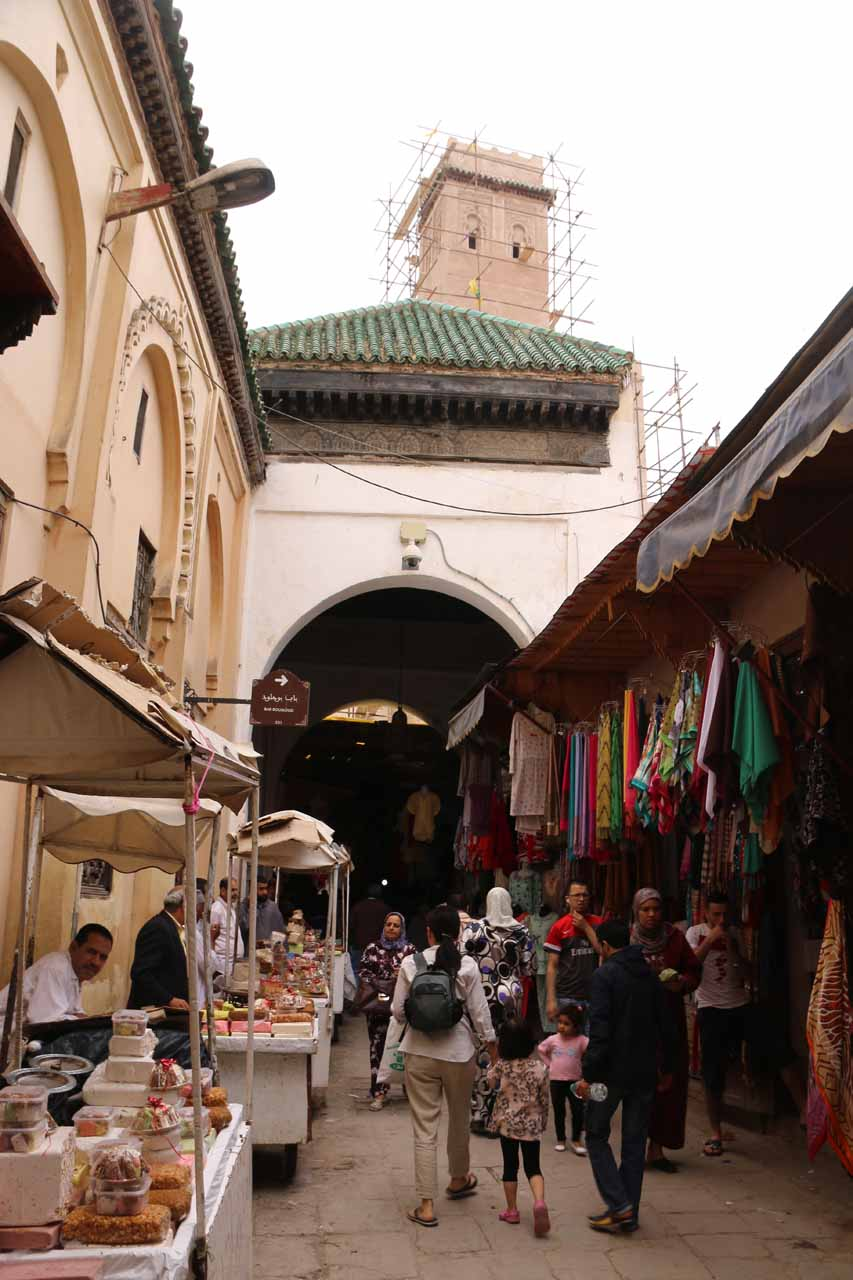 In a part of the Fes medina where we were about to pass beneath a scaffolded minaret