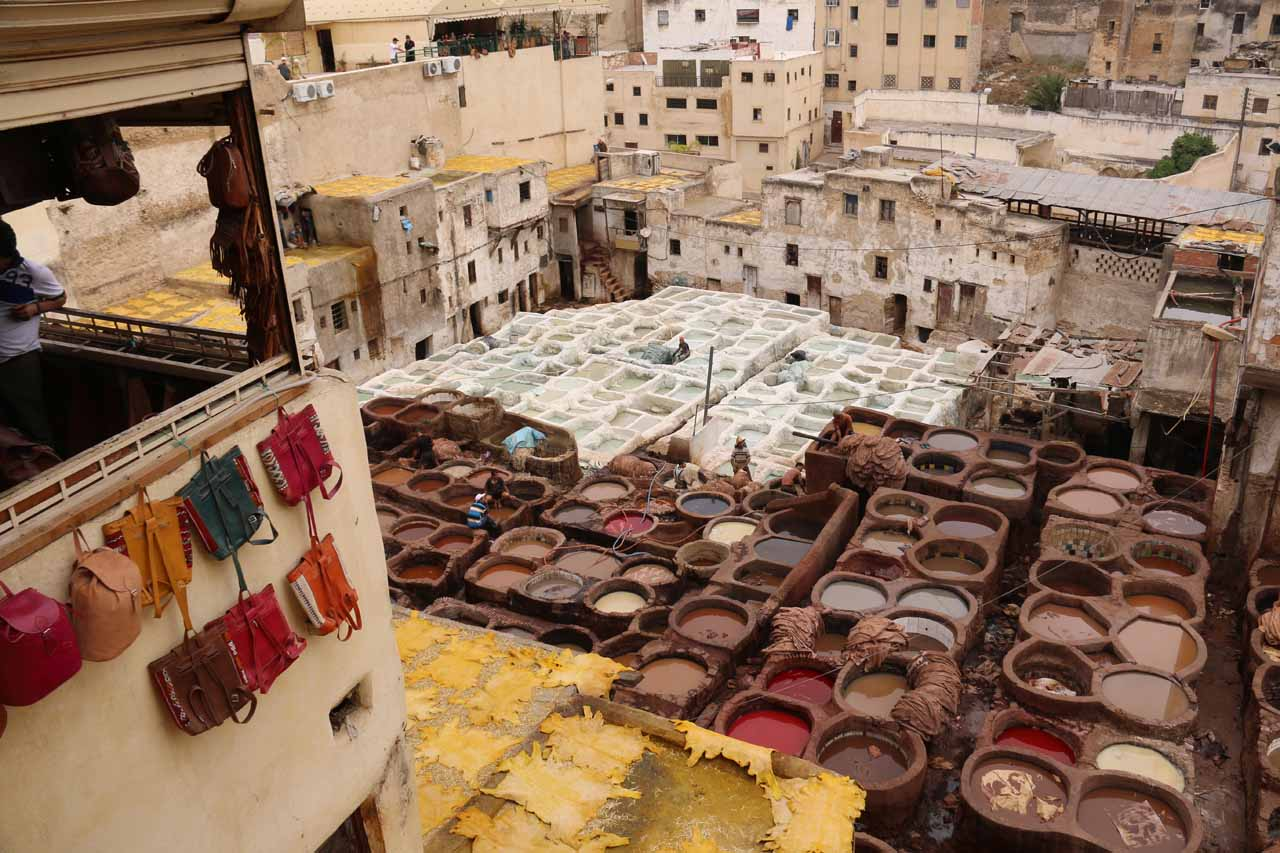 Our first look down at the impressive tanneries of Fes