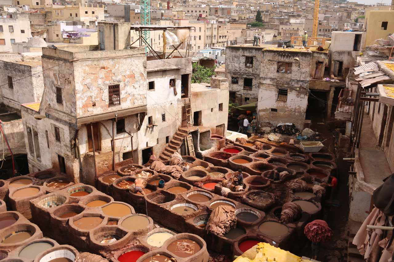 Looking towards another end of the impressive tanneries in Fes