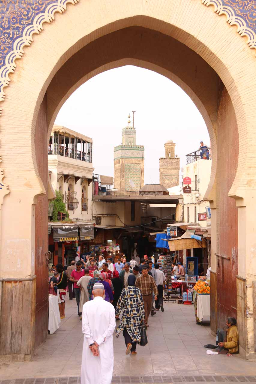 Looking through the Bab Boujloud towards a pair of minarets probably belonging to a clock tower and neighboring mosque