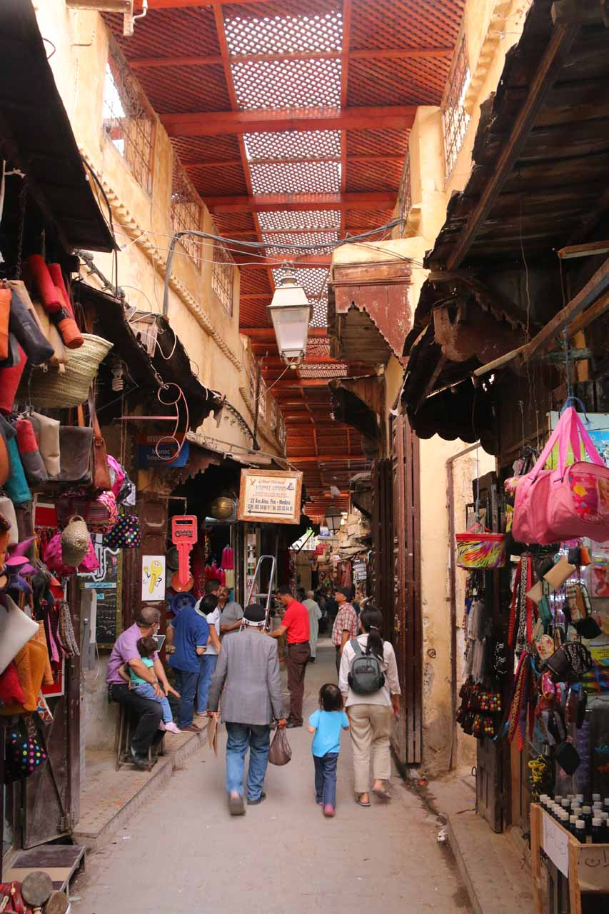 Inside the semi-sheltered souks closer to the heart of the Fes medina
