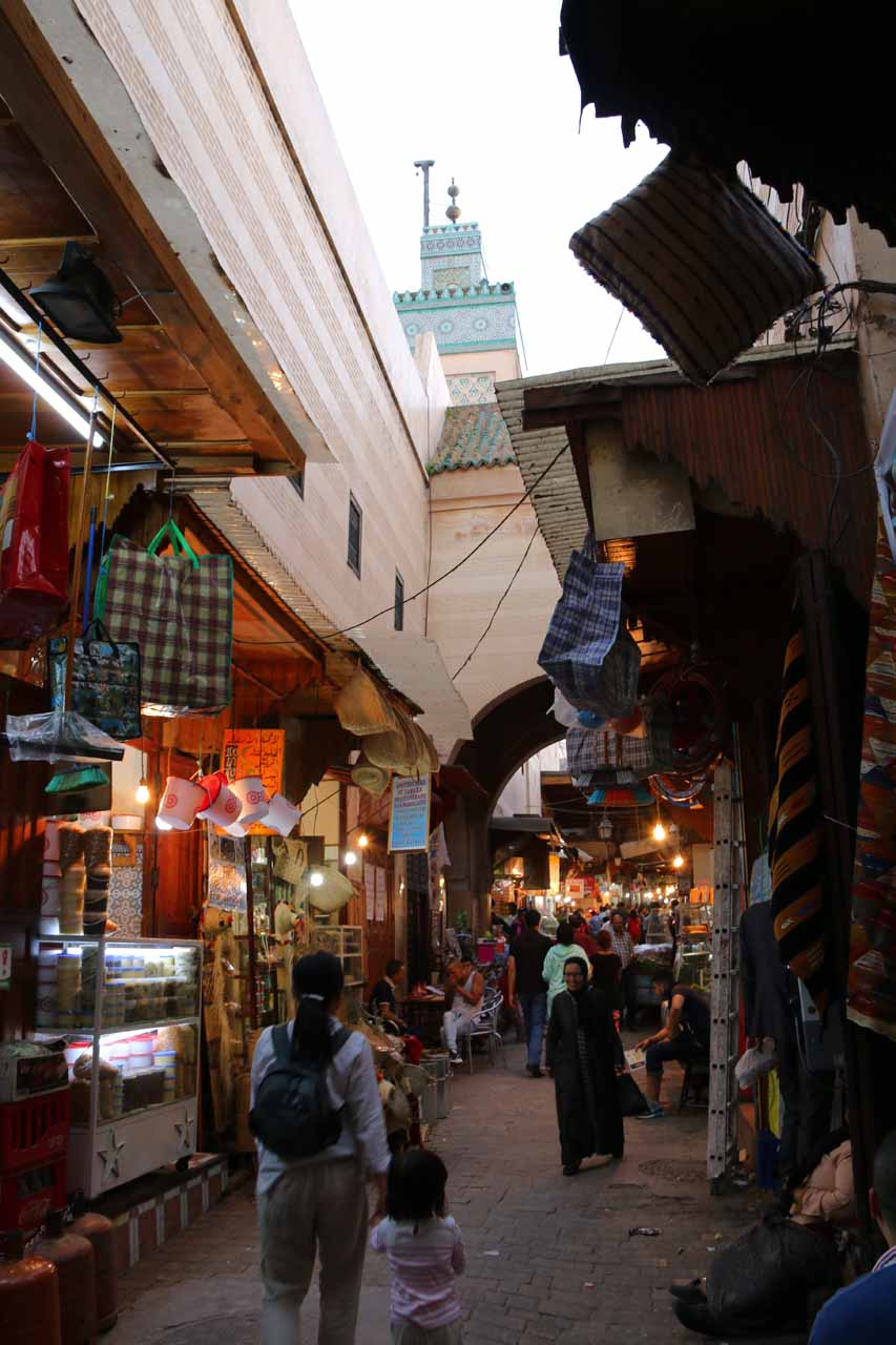 Passing through the souks in the Fes medina as we looked for the Clock Tower
