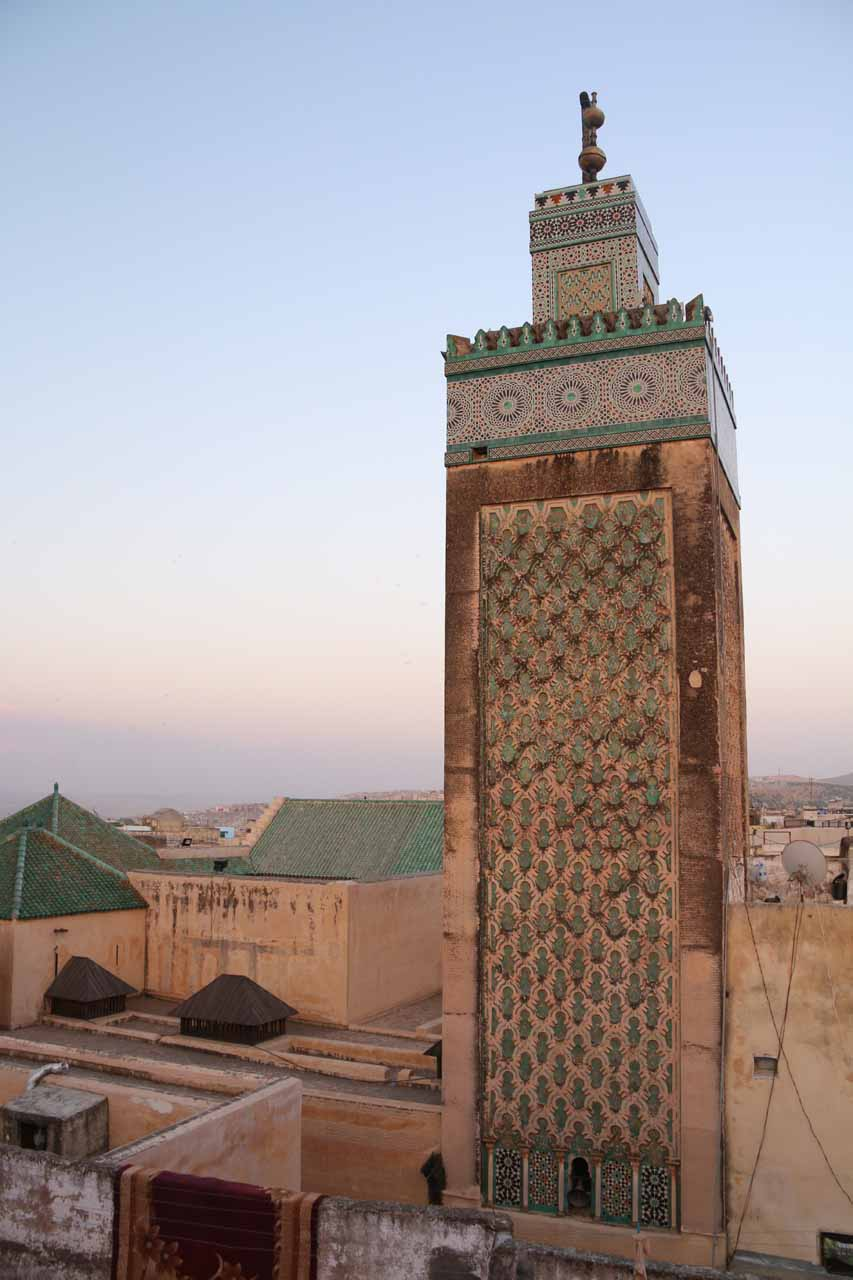 A close look at the minaret from a neighboring mosque to the Clock Tower