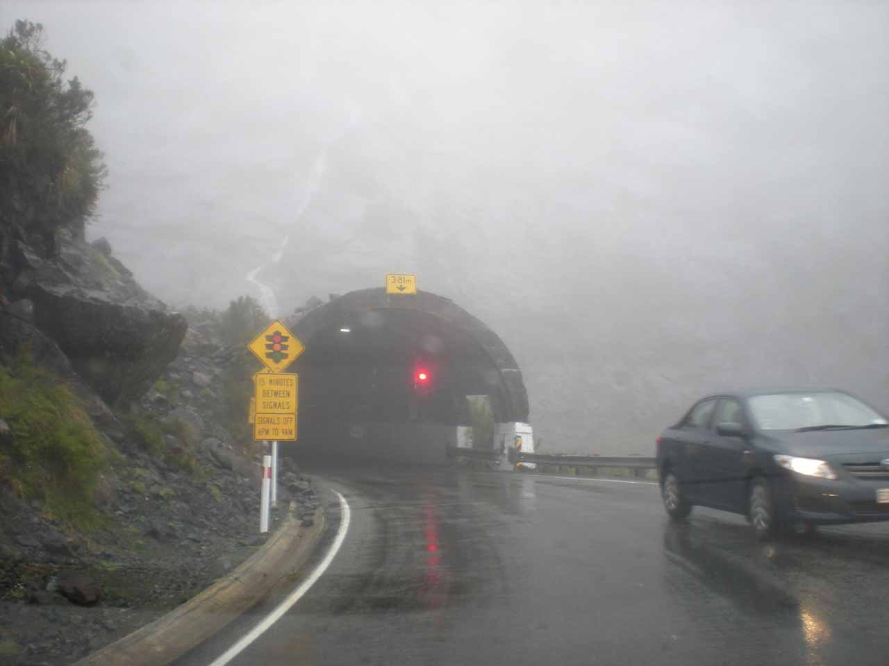 It was pouring rain when we left Milford Sound and waited at the west end of the Homer Tunnel in December 2009