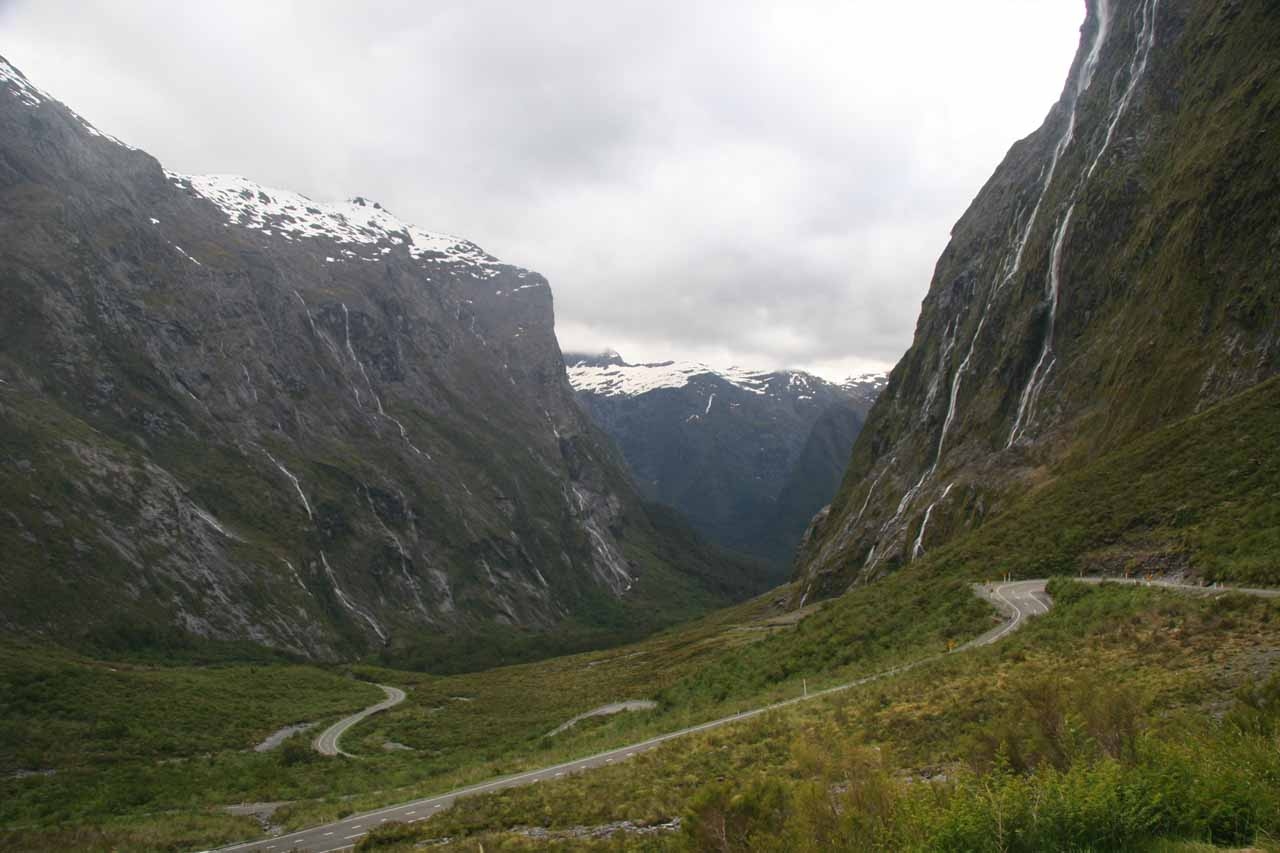 When we left the west end of the Homer Tunnel under more agreeable weather, this was the view of the valley that greeted us.  Notice the waterfalls lining the valley walls