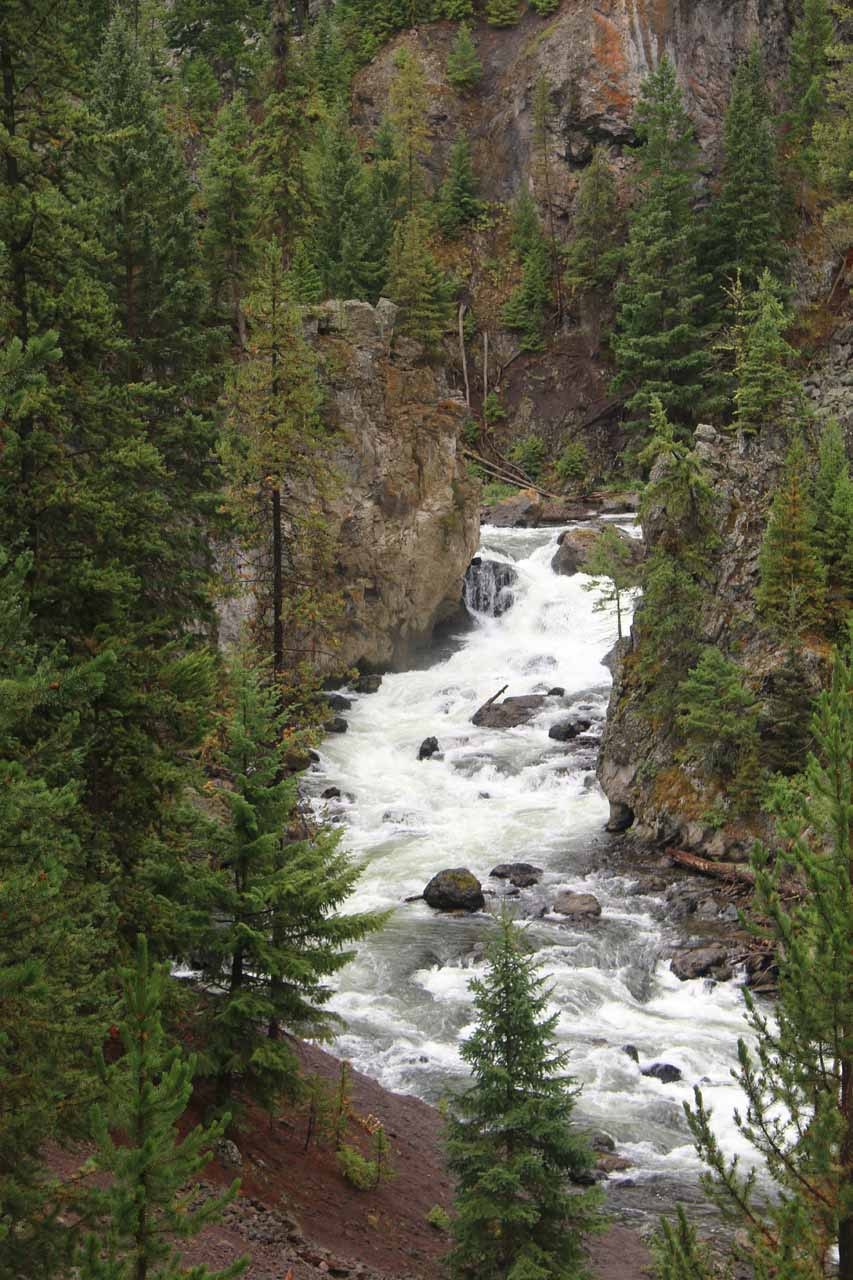 Looking down over an attractive cascade on the Firehole River that was about 0.8 miles from the start of the Firehole Canyon Drive or 0.1 mile before the Firehole Falls
