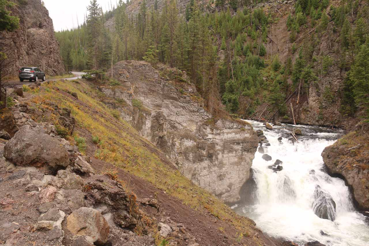 Context of the Firehole Canyon Drive continuing further beyond the Firehole Falls