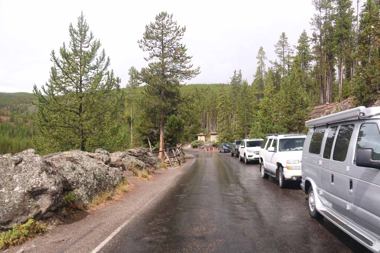 There was limited parking space along the Firehole Canyon Drive for the Firehole Swimming Area