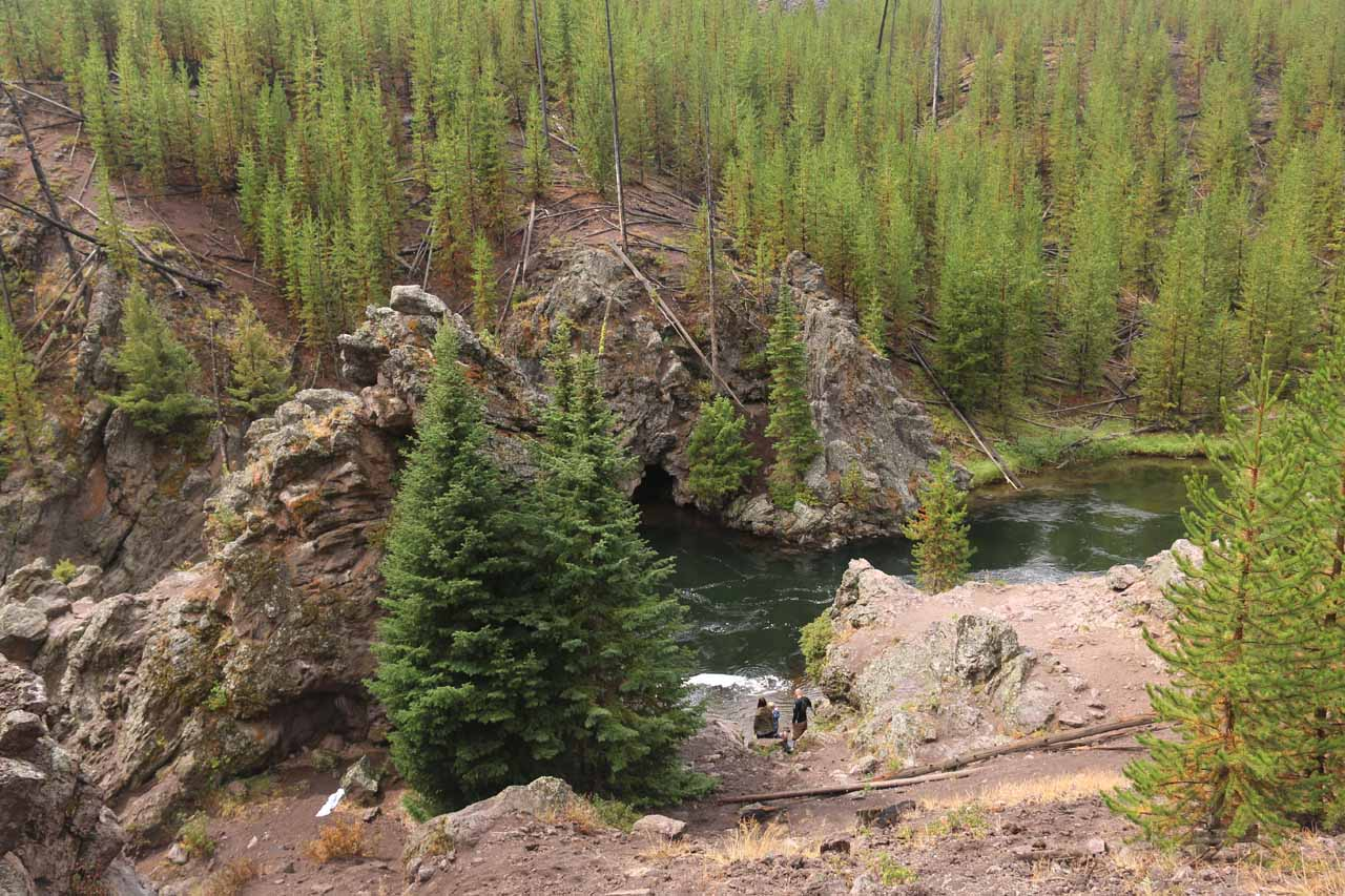 Looking down at the canyon just upstream from the Firehole Swimming Area