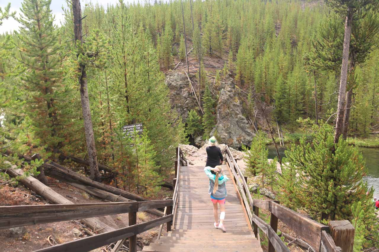 Descending this wooden boardwalk and steps to access the Firehole River