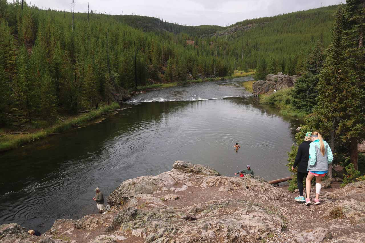 Looking down towards the wide calm part of the Firehole River. It wasn't hard to imagine why the Firehole Swimming Area was here