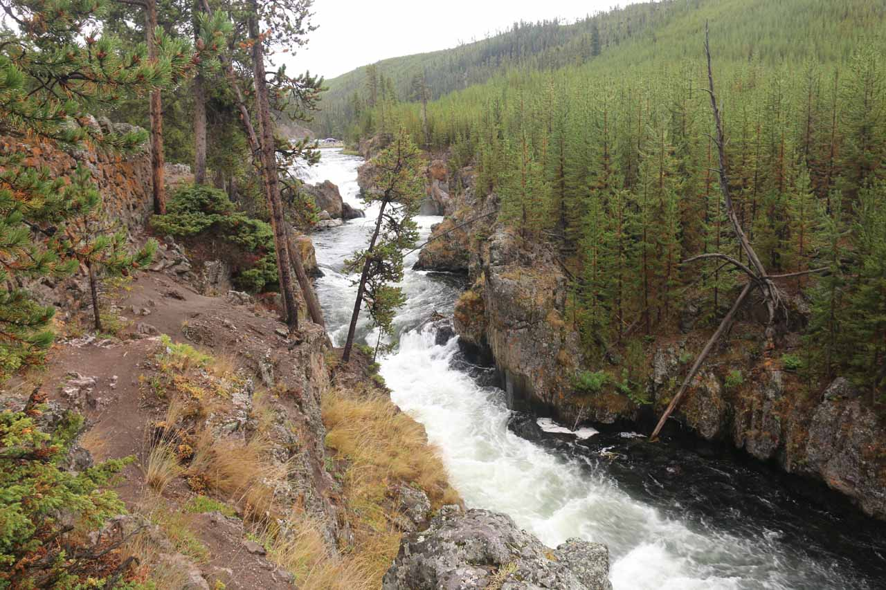 Looking down at the attractive cascades known as the Cascades of the Firehole
