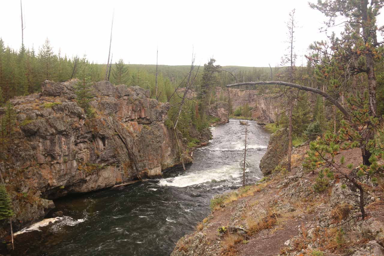 Looking downstream at more cascades further along the Firehole River