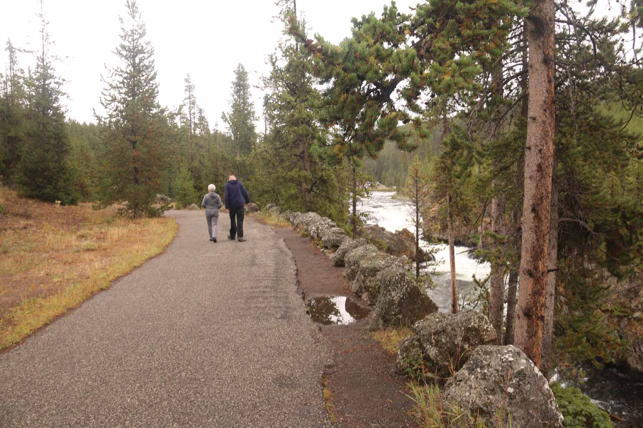 Context of the paved walkway connecting the end of the Firehole Canyon Drive with the Grand Loop Road along the Cascades of the Firehole