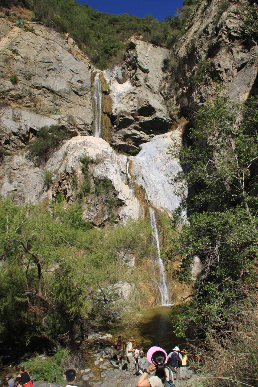 Descending towards the area between the third and four tiers of Fish Canyon Falls
