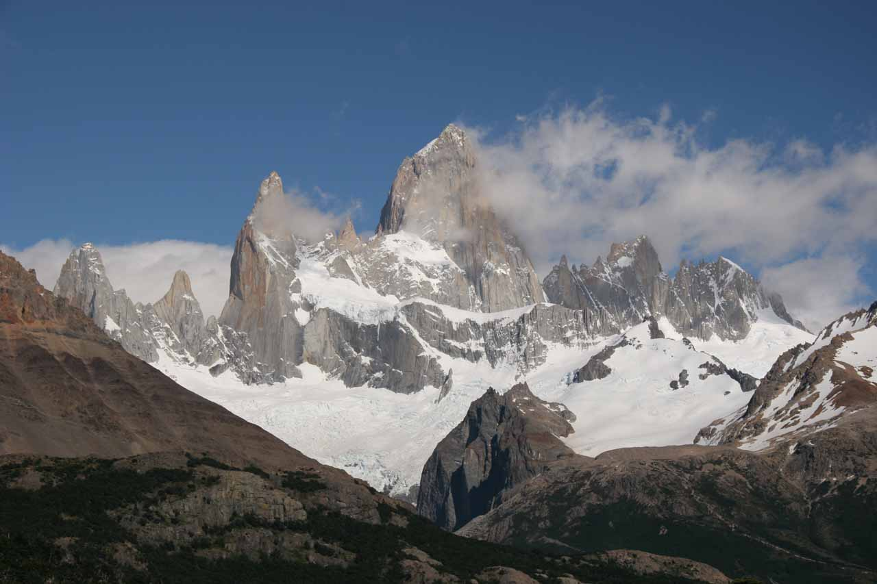 View of the Fitz Roy Massif from the lookout point after the initial ascent at the trailhead