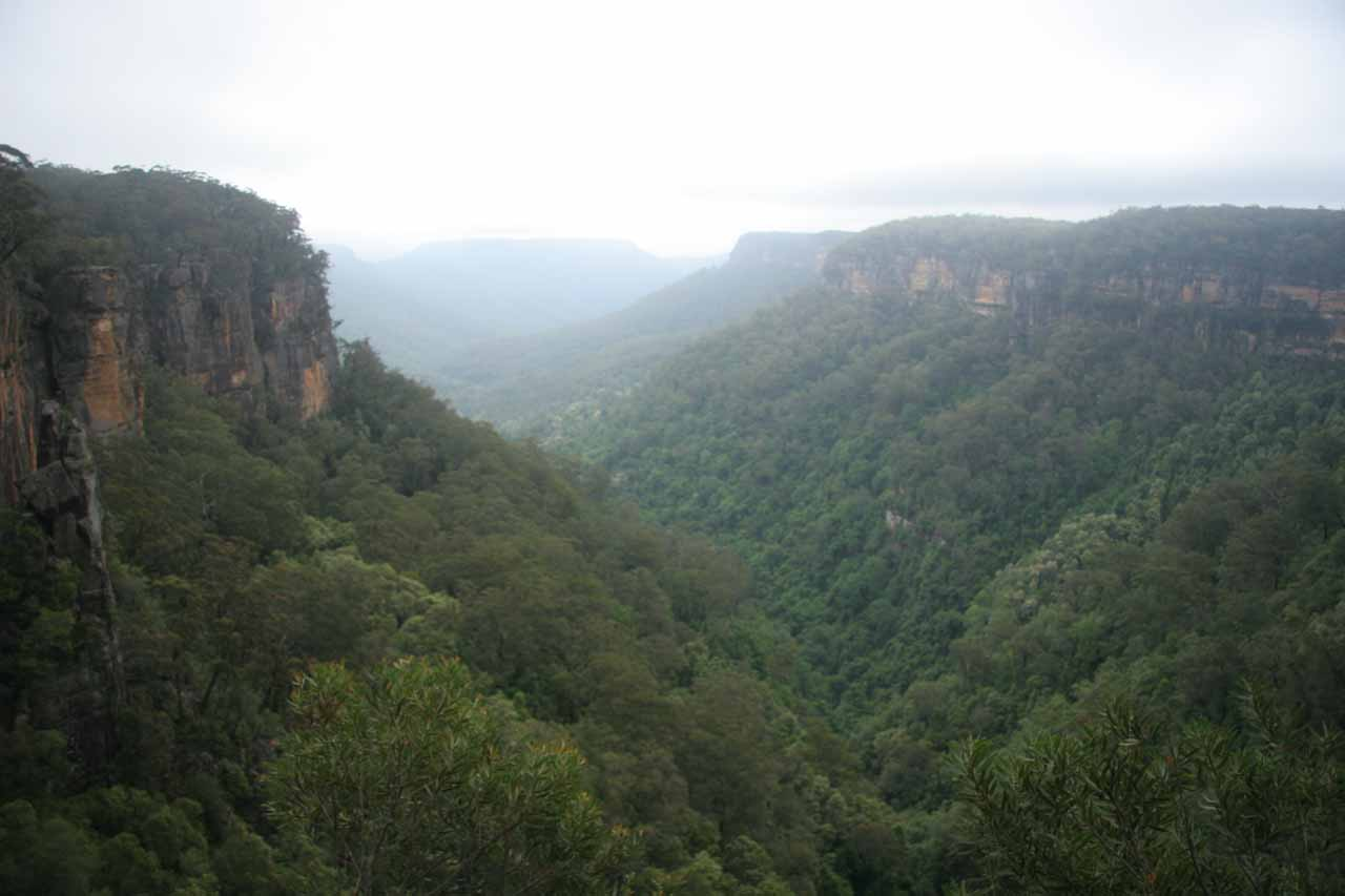 This was the view of the valley from the top of Fitzroy Falls with incoming bad weather