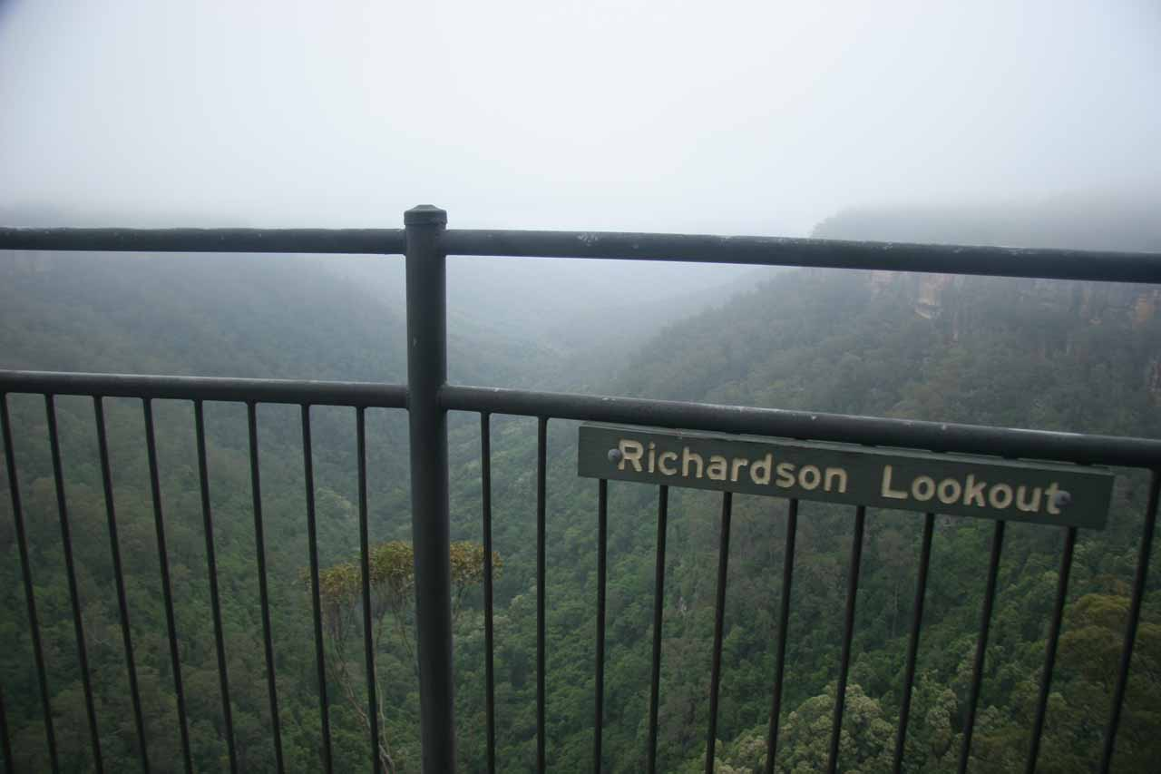I believe the Richardson Lookout might be the furthest lookout where we were still able to see Fitzroy Falls
