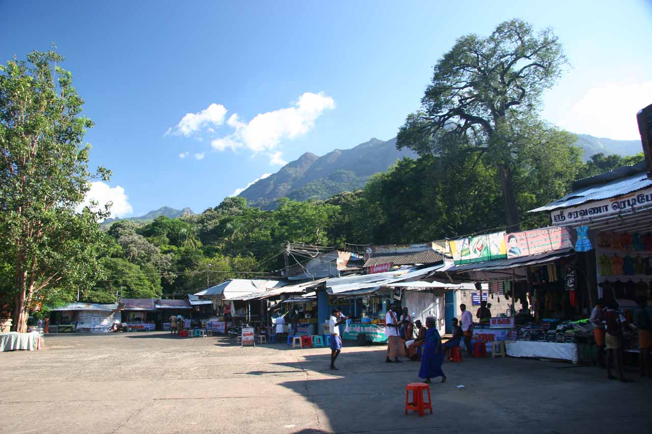 A marketplace right at the car park for the Kutralam Five Falls