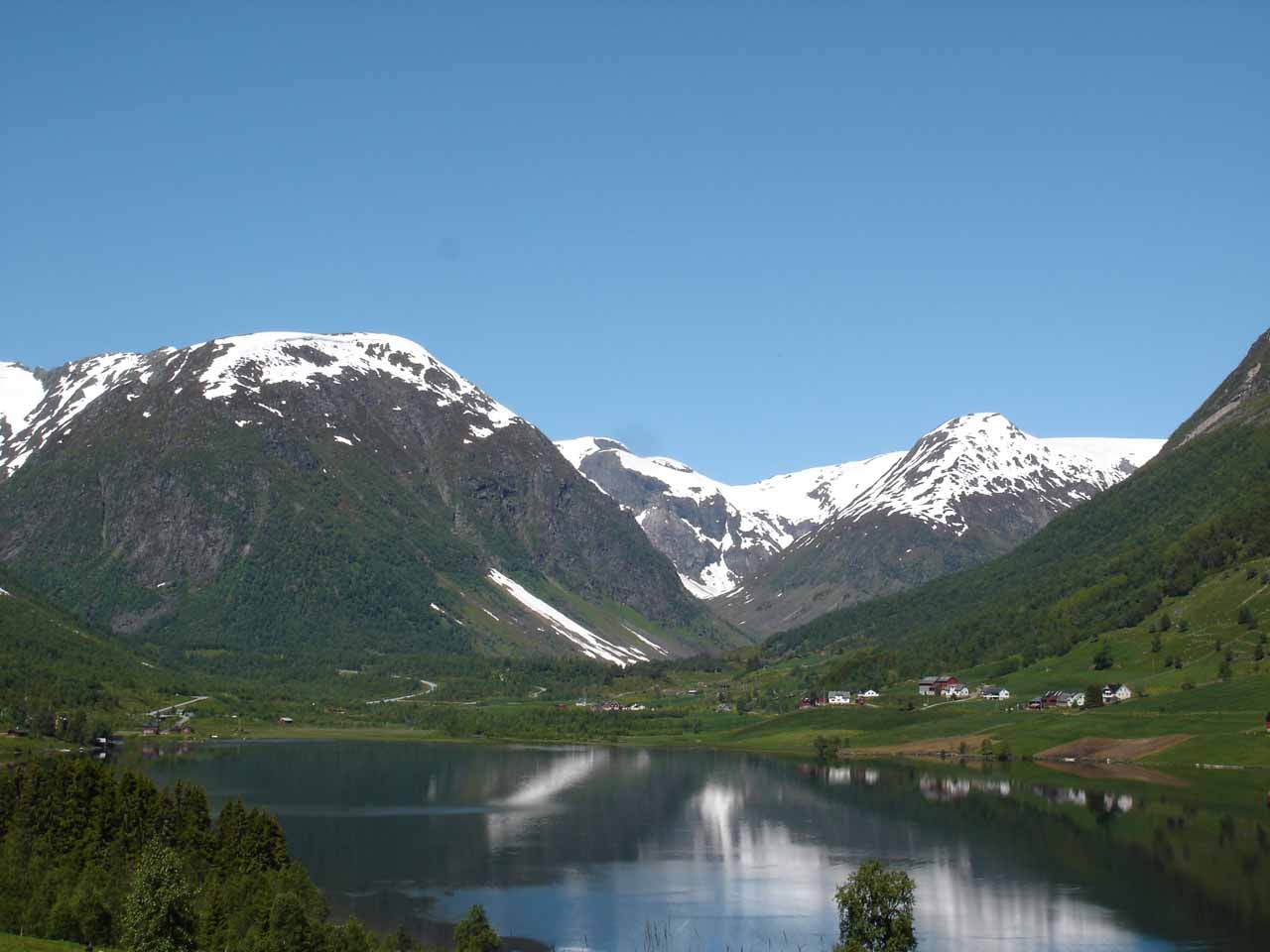 View over the lake Dalavatnet nearby Svedalsfossen as we were passing through the intriguing glacier country of Fjærland