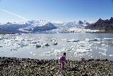 Fjallsarlon_064_08082021 - Context of Tahia having fun chucking rocks or whatever ice she found towards the icebergs of Fjallsarlon