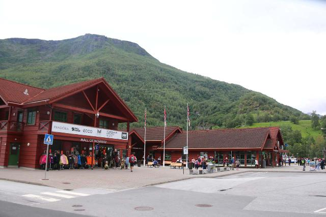 Flam_003_07222019 - Looking towards the visitor center by the public car park in the sentrum of Flåm