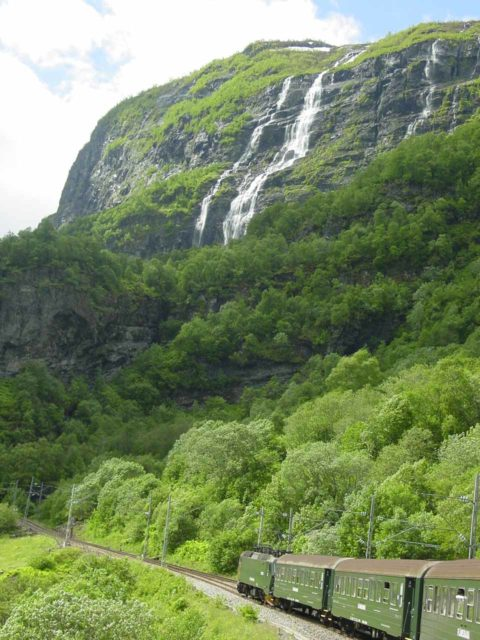 Flam_017_06272005 - Waterfalls were everywhere along the Flåmsbana (The Flam Railway), including our pause at Berekvam as we waited for a train going in the opposite direction as us to pass