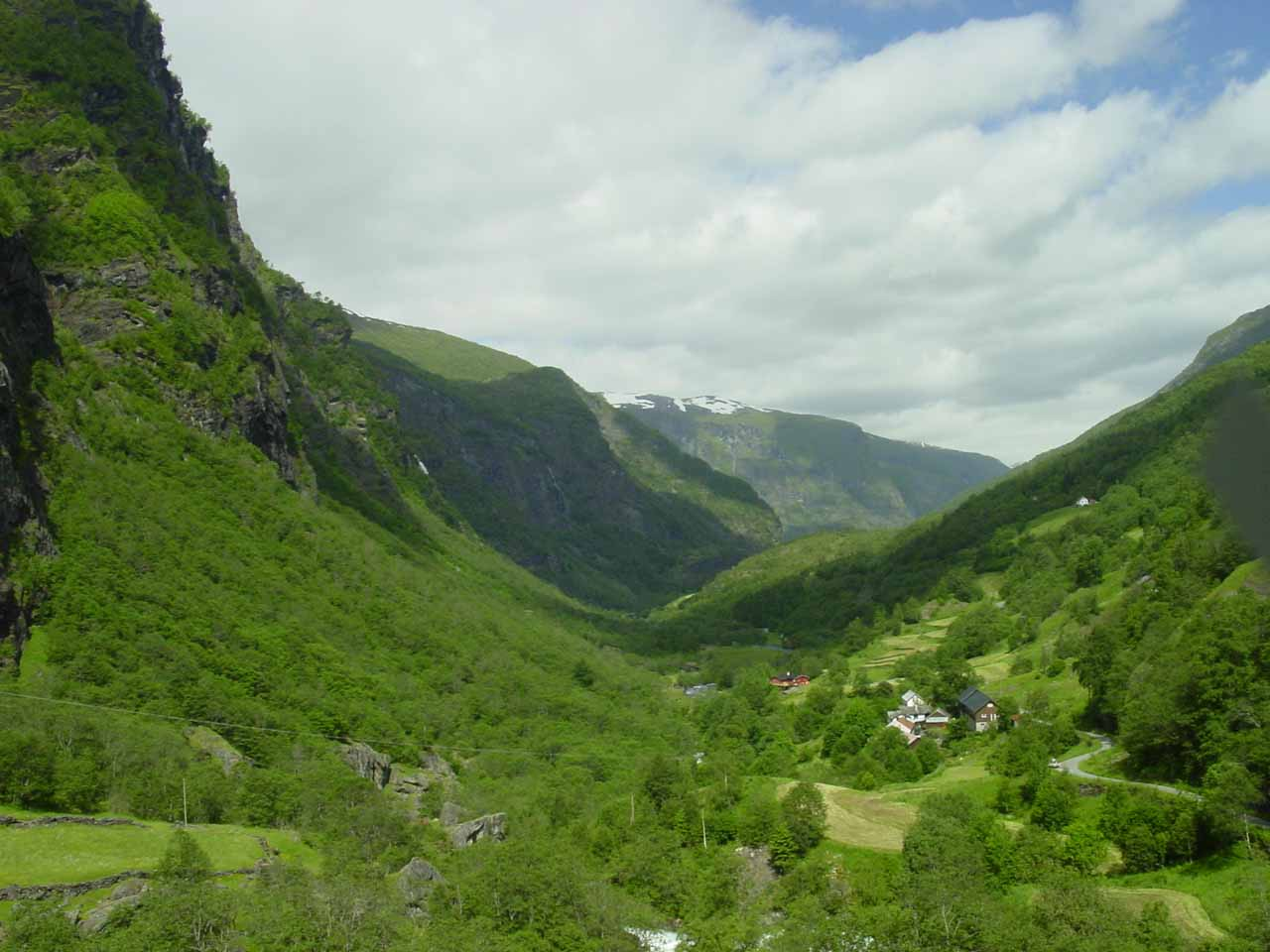 Looking towards the middle section of Flamsdalen on the Flam Railway