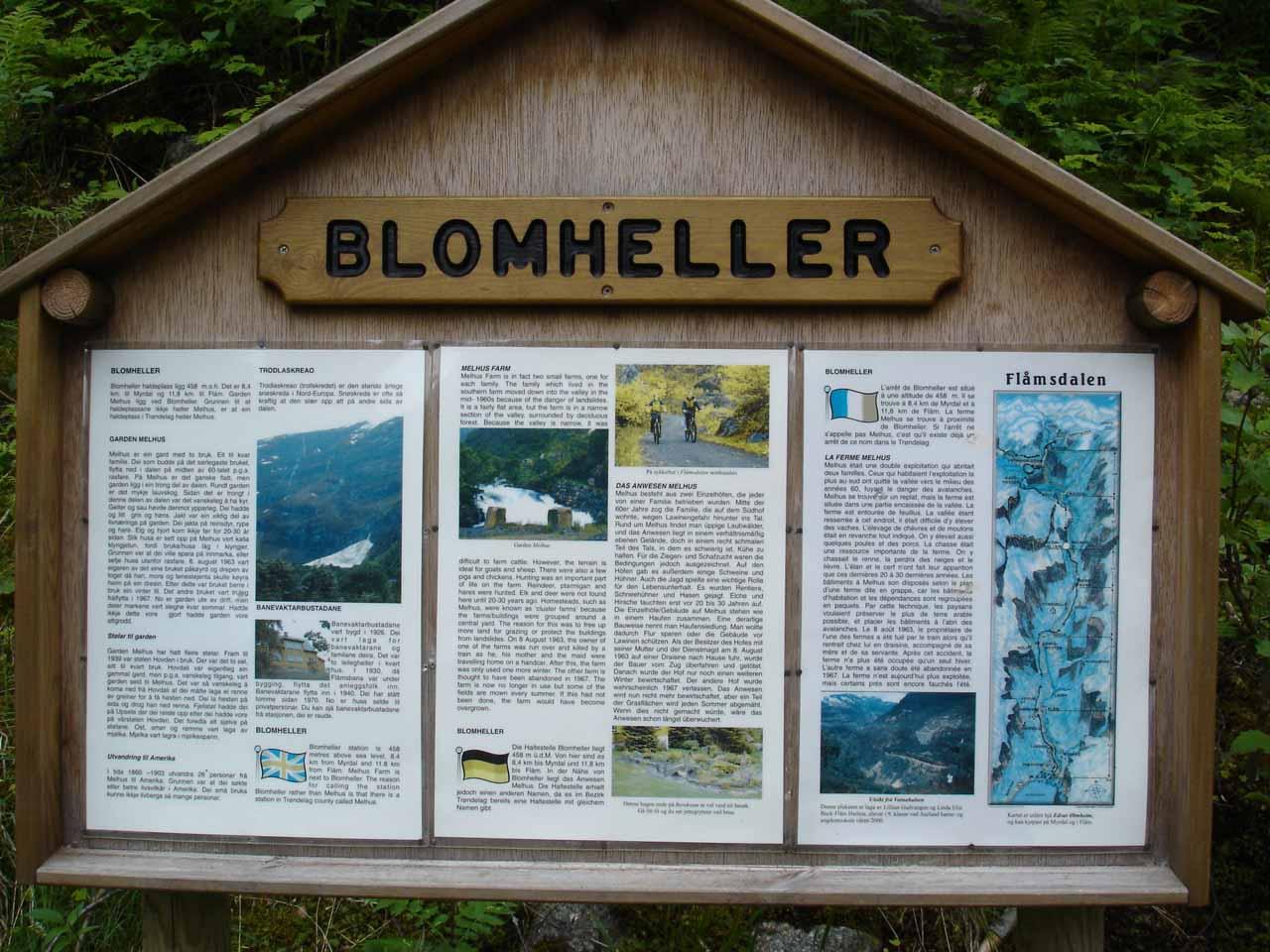 Interpretive sign at the Blomheller Station