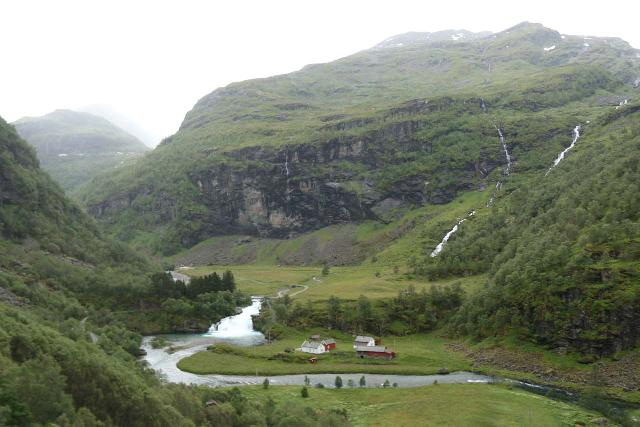 Flam_Railway_110_07222019 - Kårdalsfossen in context with the Kårdal Farm and some backing waterfalls