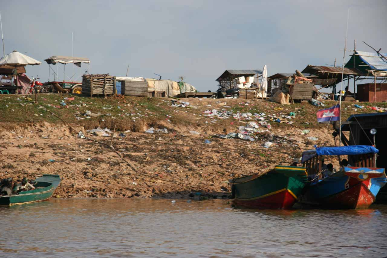 Lots of litter along the Mekong banks