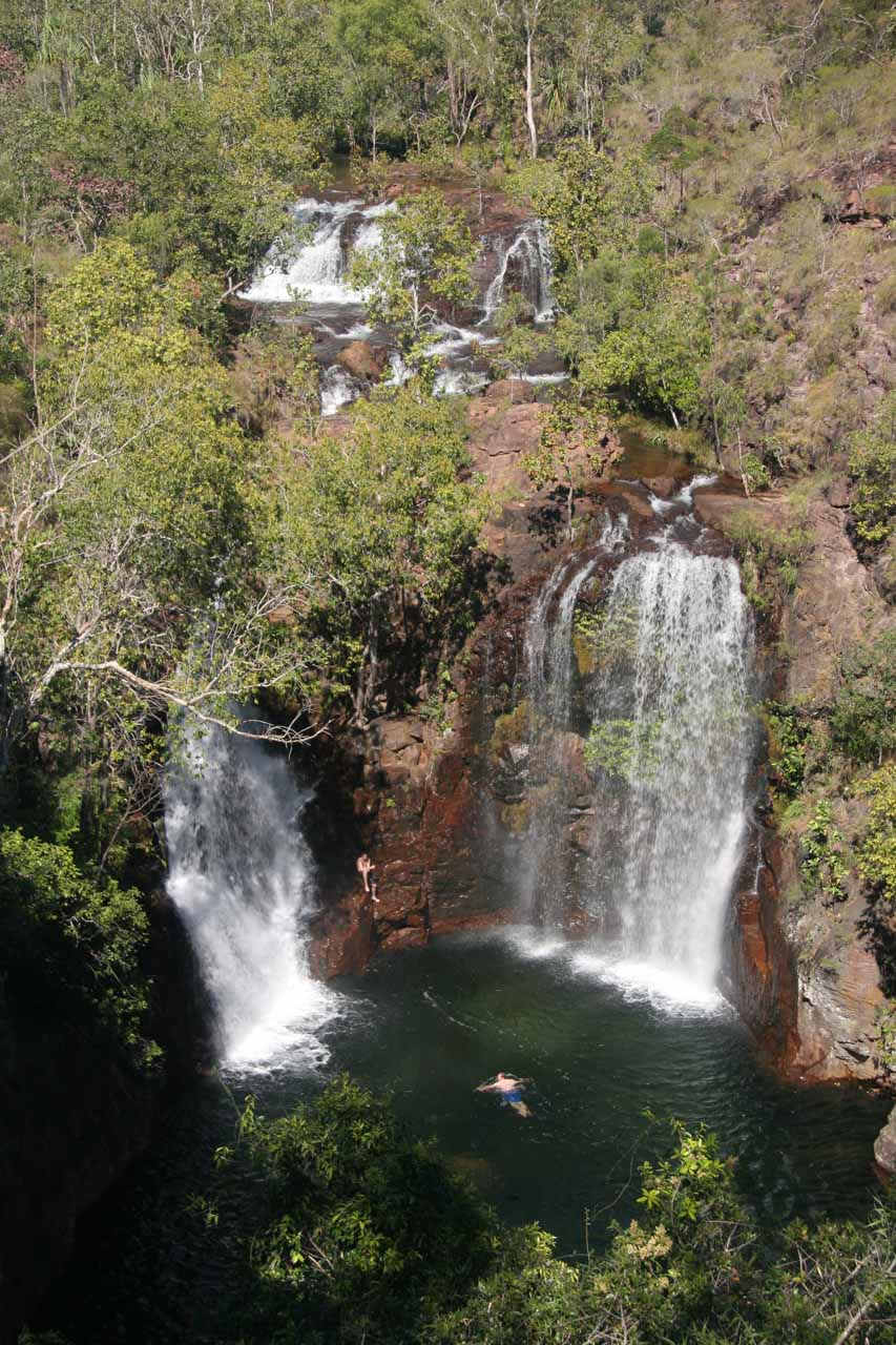 Back at the overlook for Florence Falls with more people swimming at its base