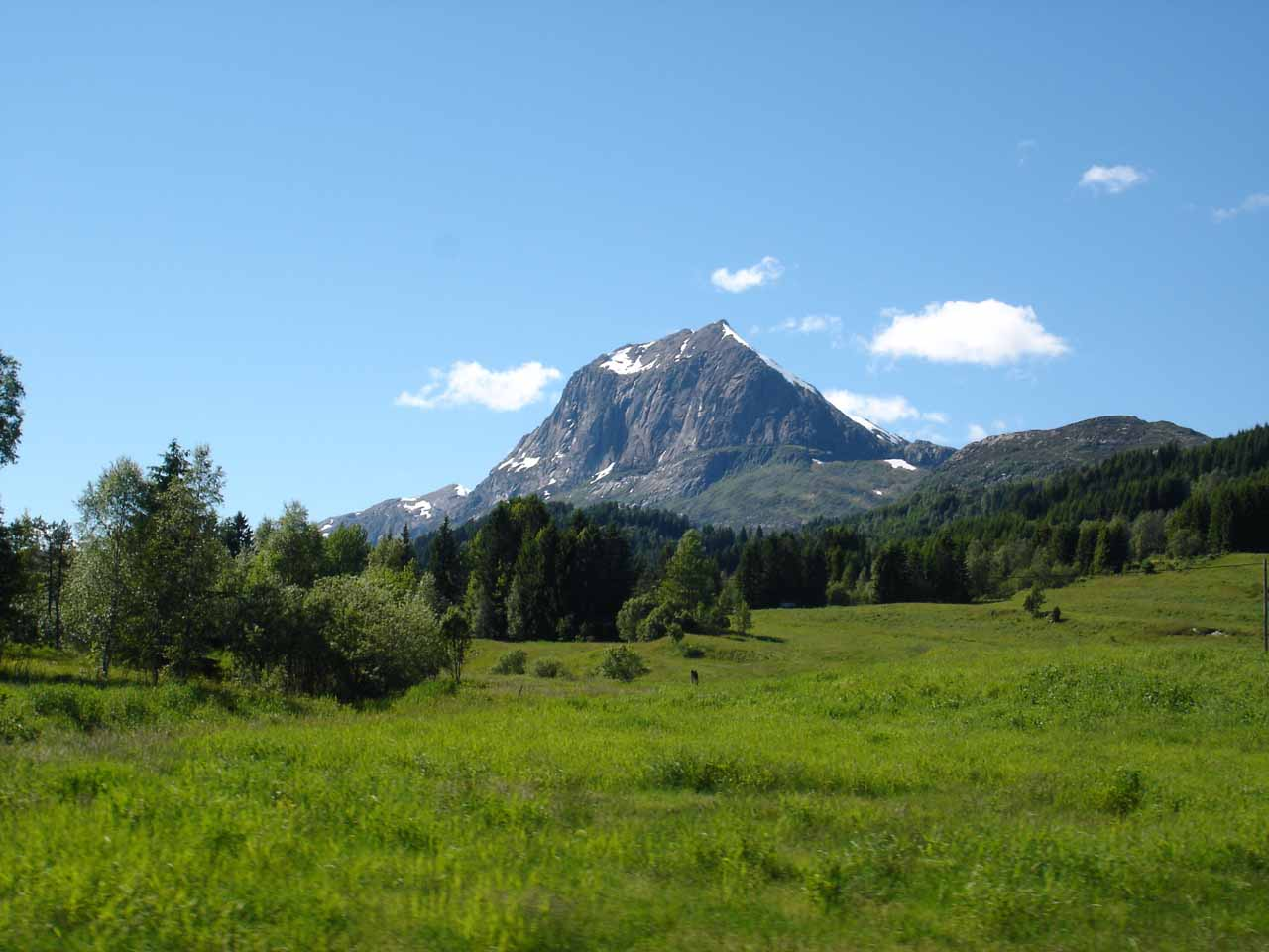As we left the E39 and headed west on the Road 57, we noticed shapely mountains like this one