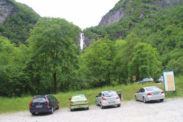 Foroglio_001_20130604 - Context of the car park for Foroglio with the Cascata di Foroglio already partially visible
