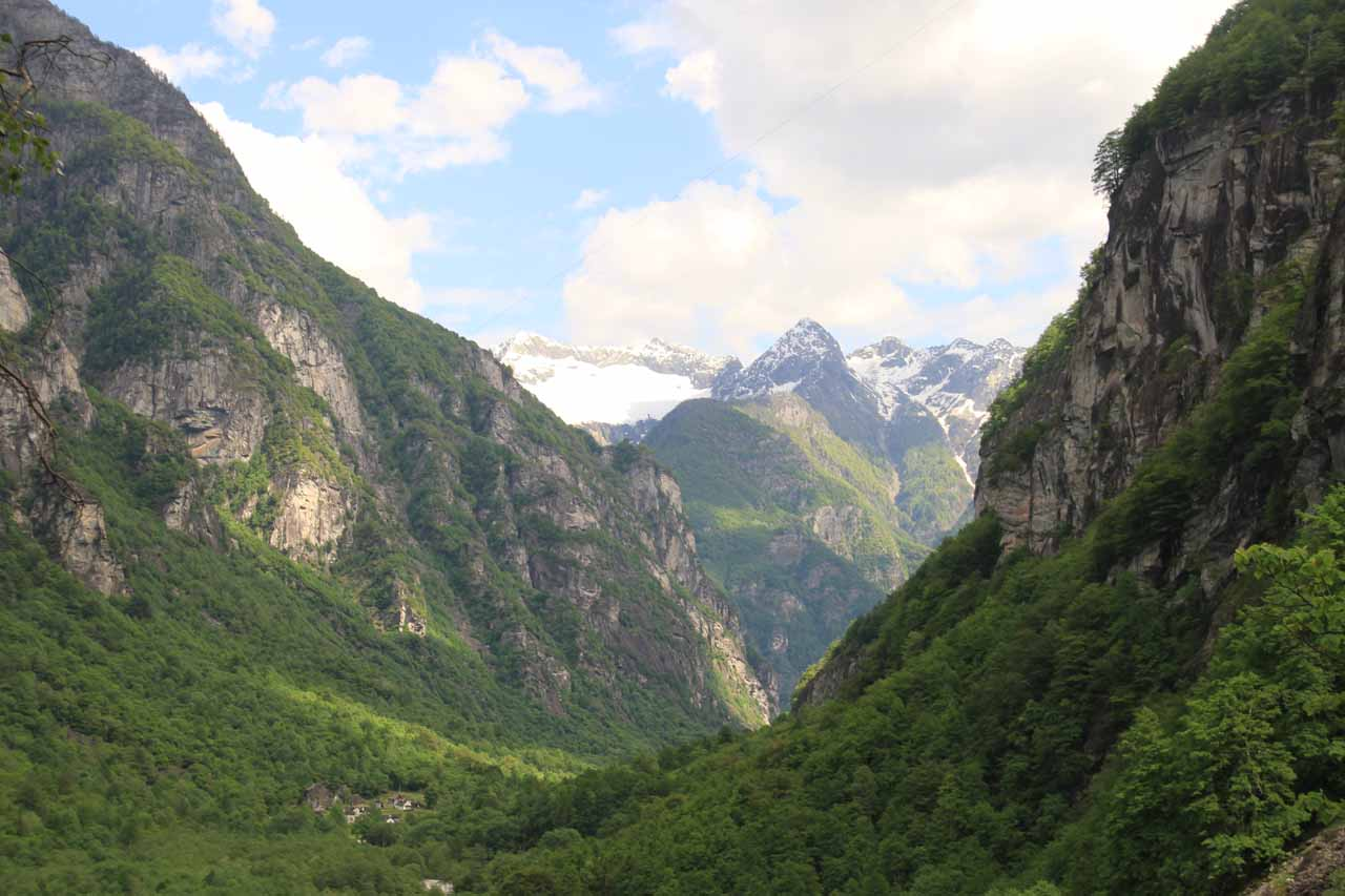 Attractive view of the deep valley of Val Bavona from the base of the main plunge of Cascata di Foroglio