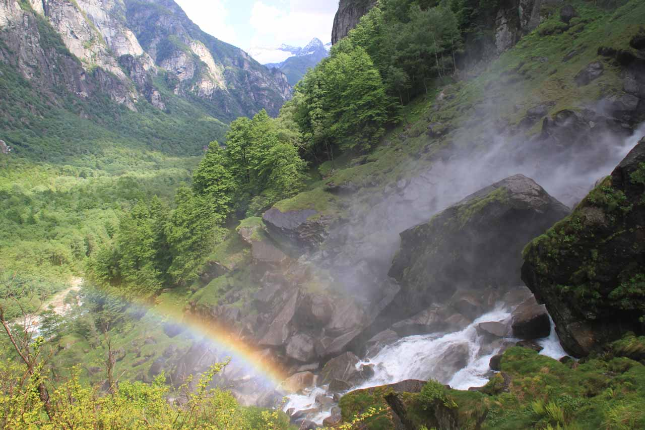 A rainbow appeared at the base of the main plunge of Cascata di Foroglio looking towards Val Bavona during our visit