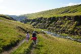 Forsaedalur_036_08162021 - Julie and Tahia descending closer to the Vatnsdalsa River and the Stekkjarfoss