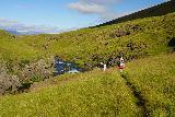 Forsaedalur_046_08162021 - The family descending closer to the Vatnsdalsa River opposite the Stekkjarfoss