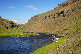 Forsaedalur_263_08162021 - Context of the family slowly making the scramble back downstream along the Vatnsdalsa after having had their fill of Dalsfoss