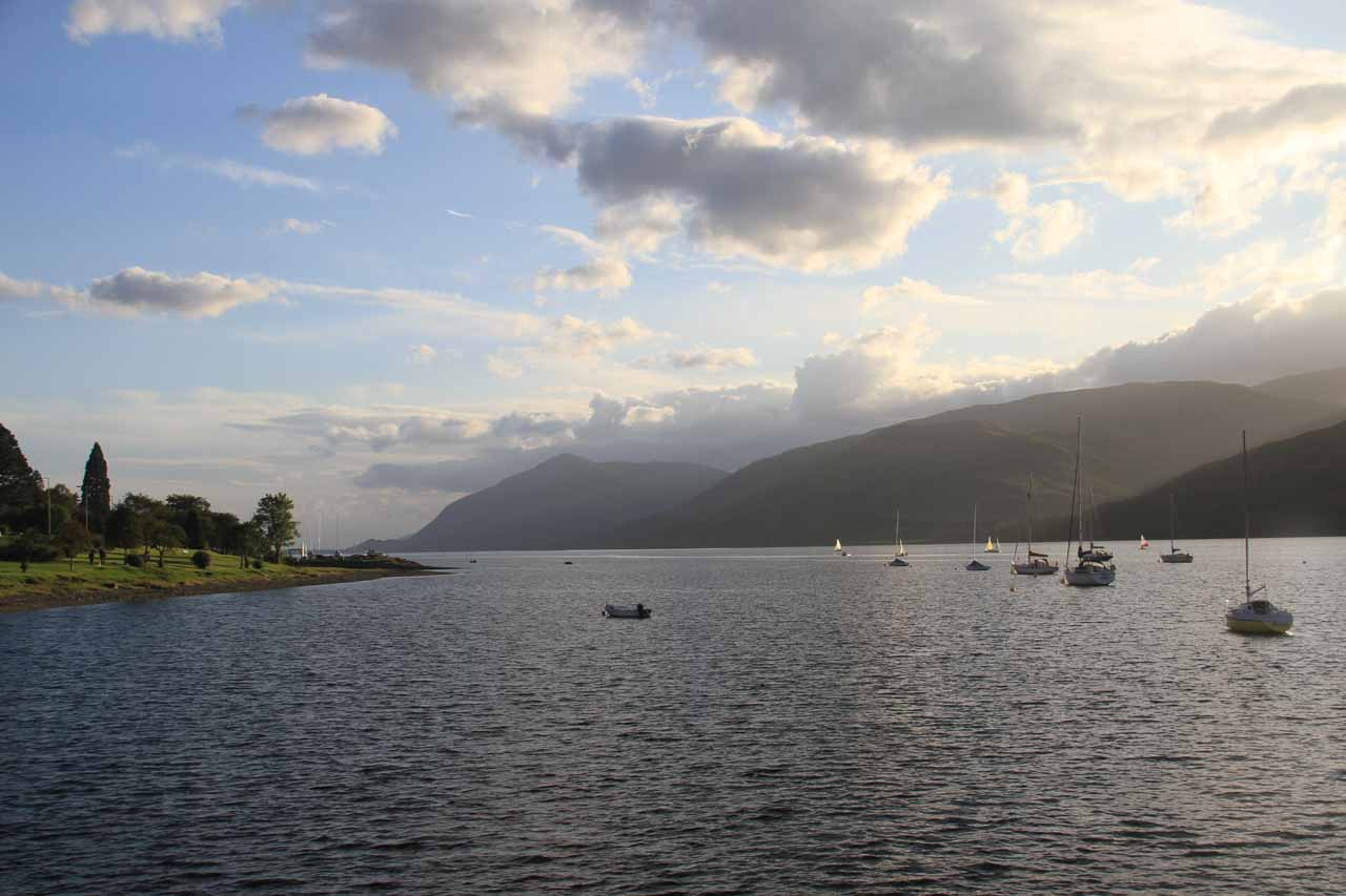 We started the 90-minute drive from Fort William (shown here looking over Loch Linnhe), which was a beautiful town that we spent the night in prior to visiting Falls of Falloch