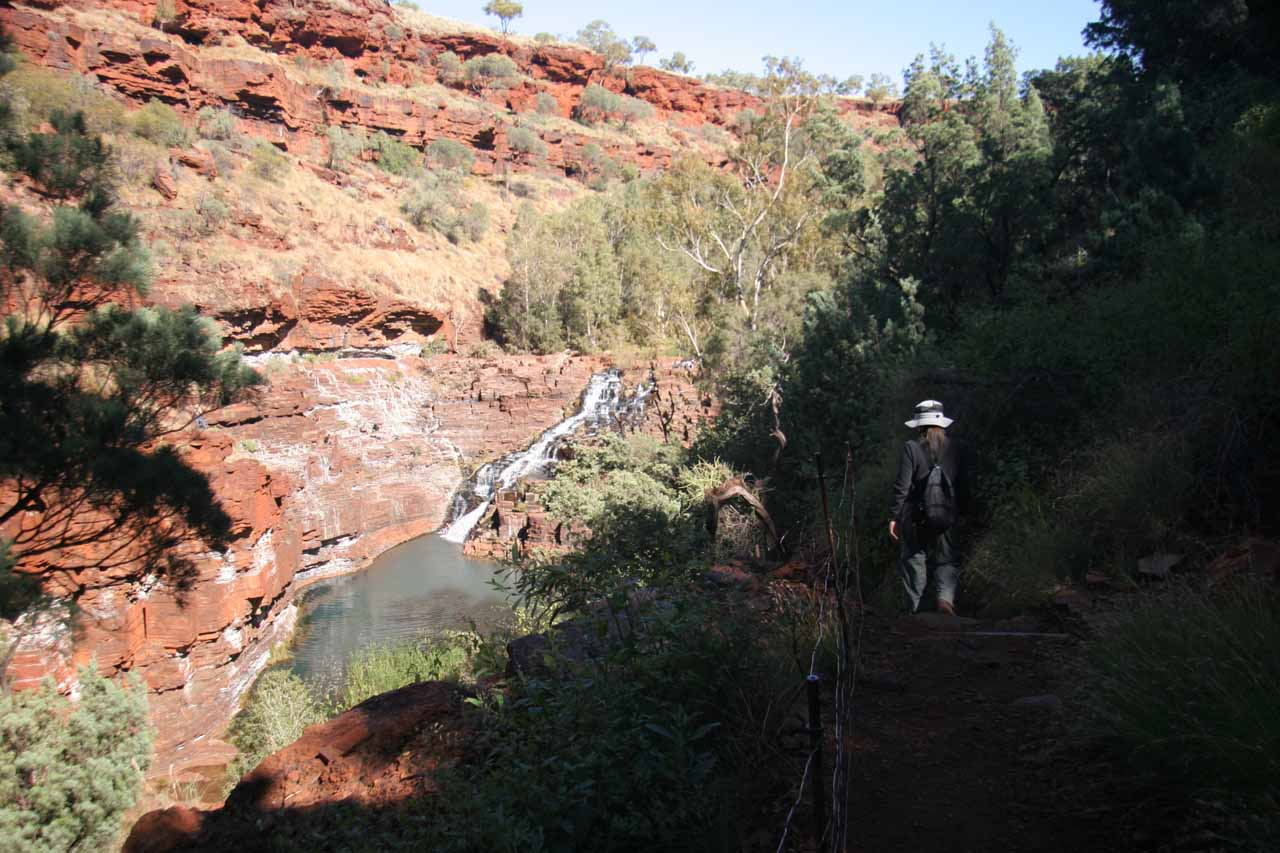 Julie on the ledge trail descending towards the top of Fortescue Falls