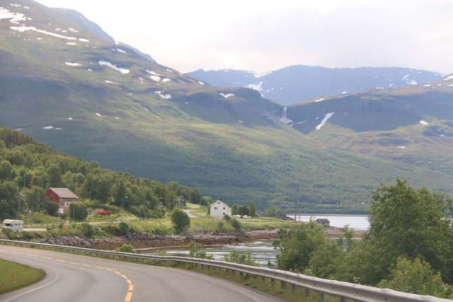 Fosselvfossen_001_07072019 - When we were driving west along the E6, we were able to see Fosselvfossen from a distance, but that wouldn't be possible had we been driving in the opposite direction