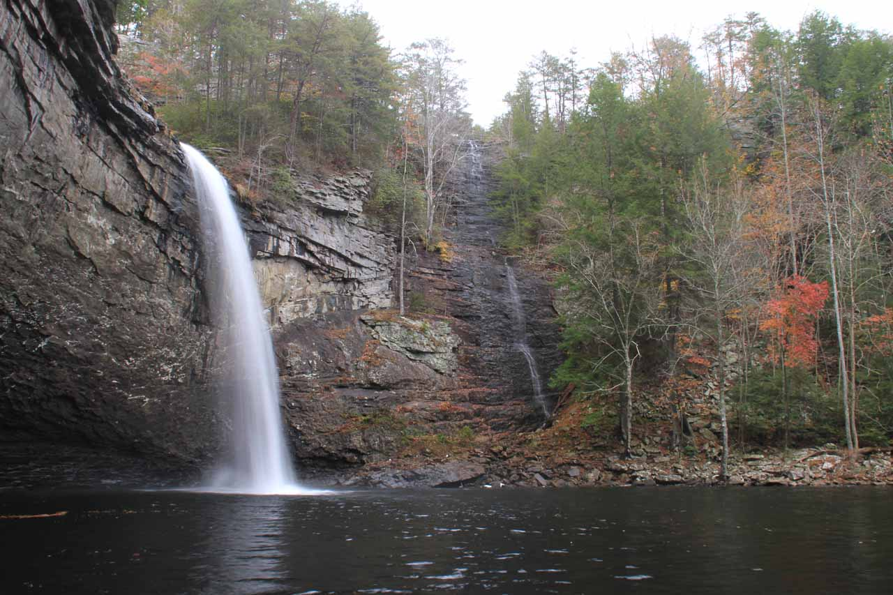 Angled view of Foster Falls and a smaller companion waterfall