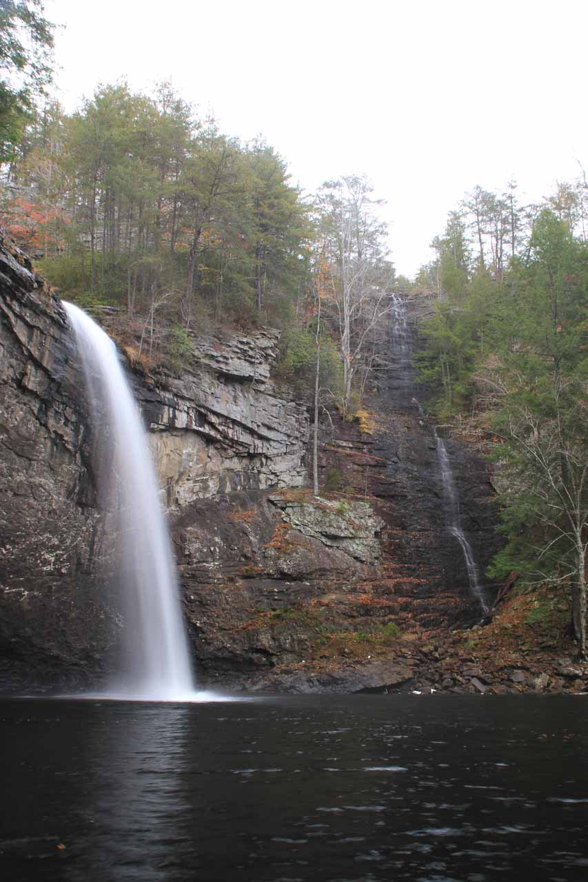 Foster Falls from beneath an overhang prone to rockfalls