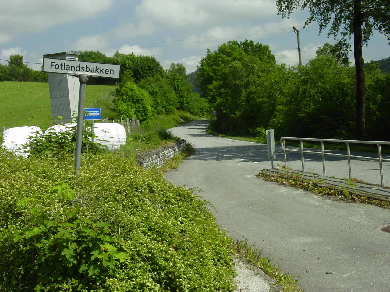 The Fotlandsbakken sign where we parked the car