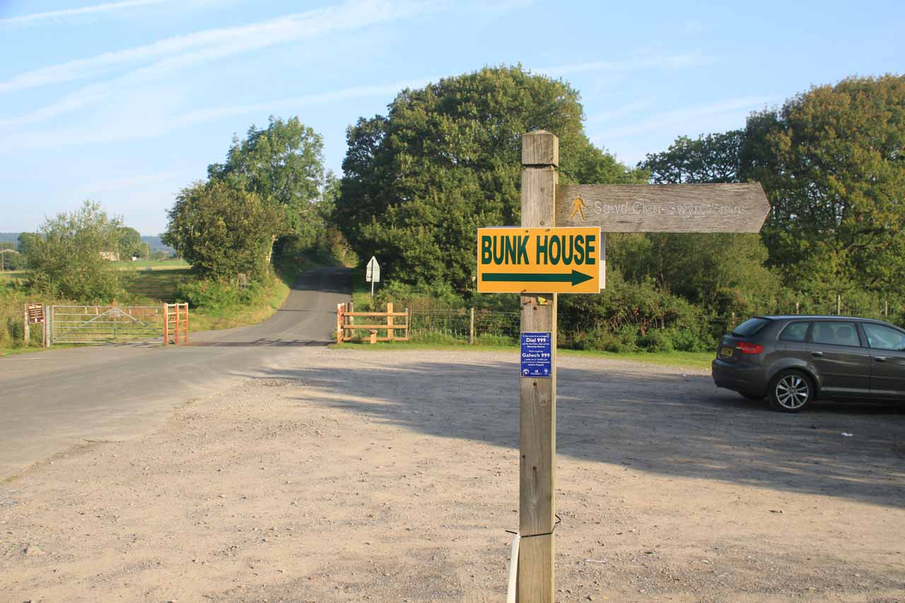 This was the obscure car park that I started my hike at.  The only clue that I was at the right place came from this sign where the other side pointed the way to Sgwd Clun-Gwyn as a 15-minute walk