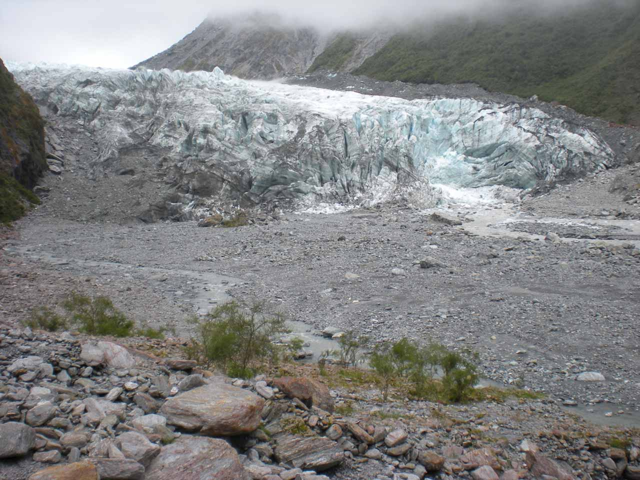 Looking across the span of the terminus of Fox Glacier