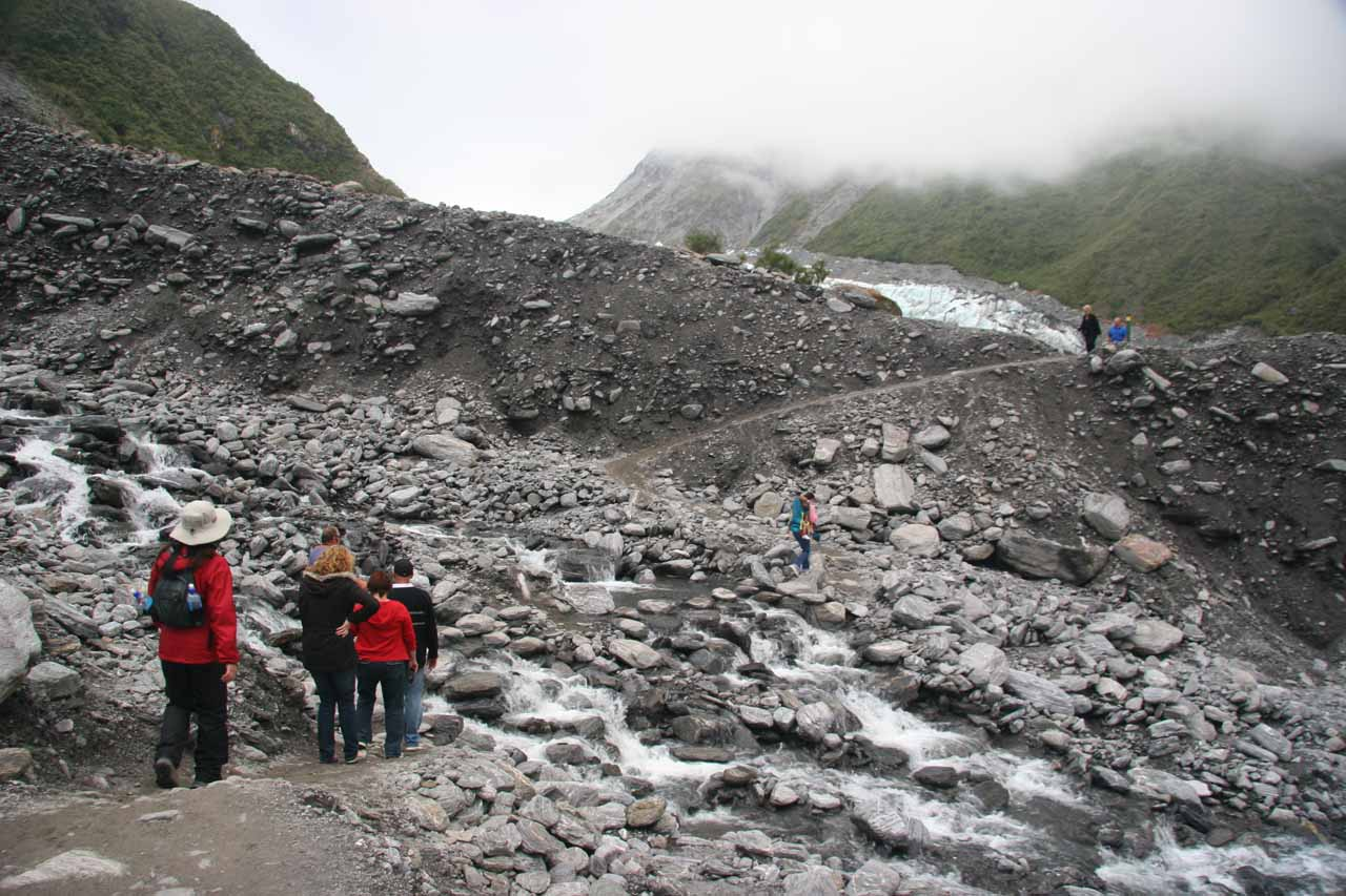 This was a fairly long (and potentially wet) stream crossing on the way to the terminus of Fox Glacier