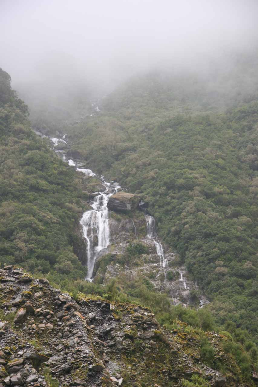 This was one of the more prominent waterfalls that we saw on the way to the terminus of Fox Glacier